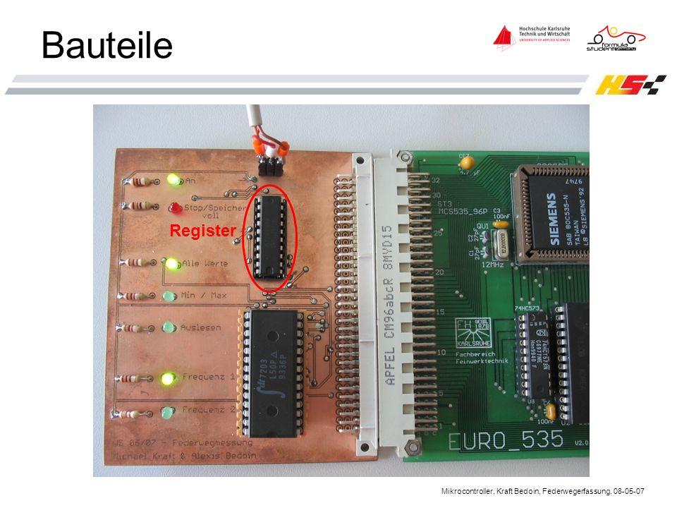 Mikrocontroller, Kraft Bedoin, Federwegerfassung, 08-05-07 Bauteile Register
