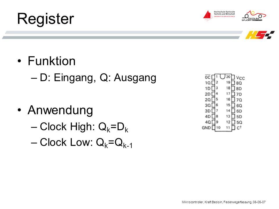 Mikrocontroller, Kraft Bedoin, Federwegerfassung, 08-05-07 Register Funktion –D: Eingang, Q: Ausgang Anwendung –Clock High: Q k =D k –Clock Low: Q k =