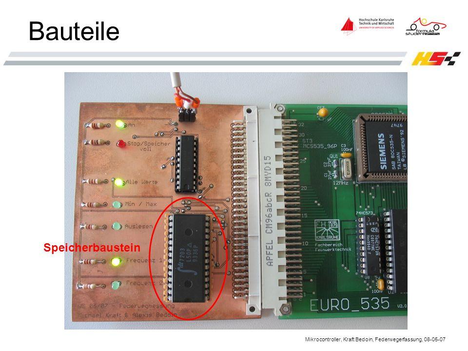 Mikrocontroller, Kraft Bedoin, Federwegerfassung, 08-05-07 Bauteile Speicherbaustein