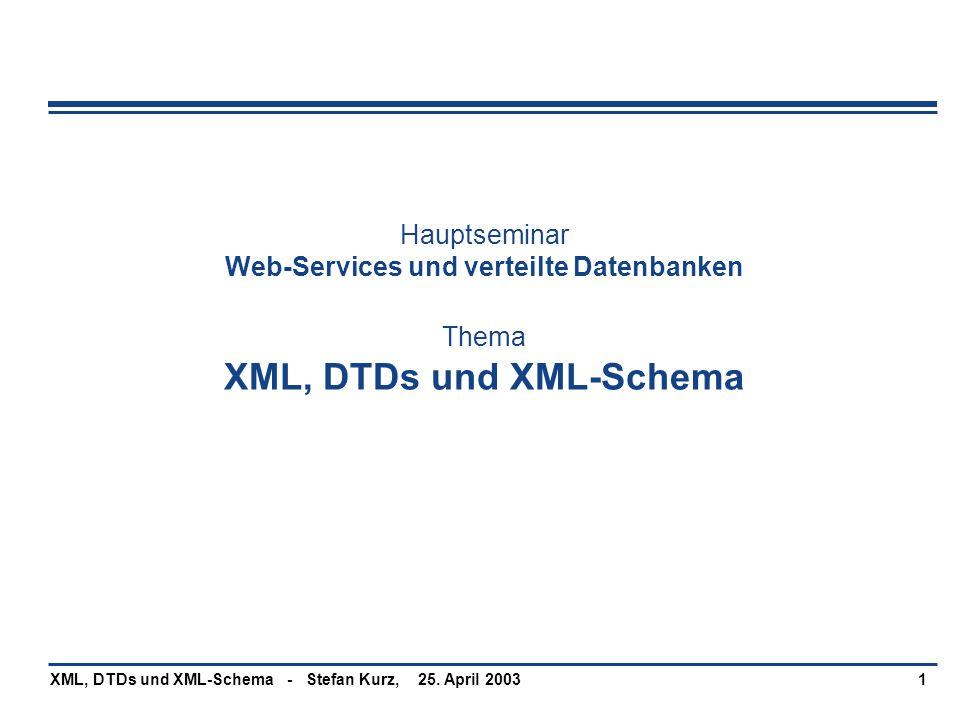 25. April 2003XML, DTDs und XML-Schema - Stefan Kurz,1 Hauptseminar Web-Services und verteilte Datenbanken Thema XML, DTDs und XML-Schema