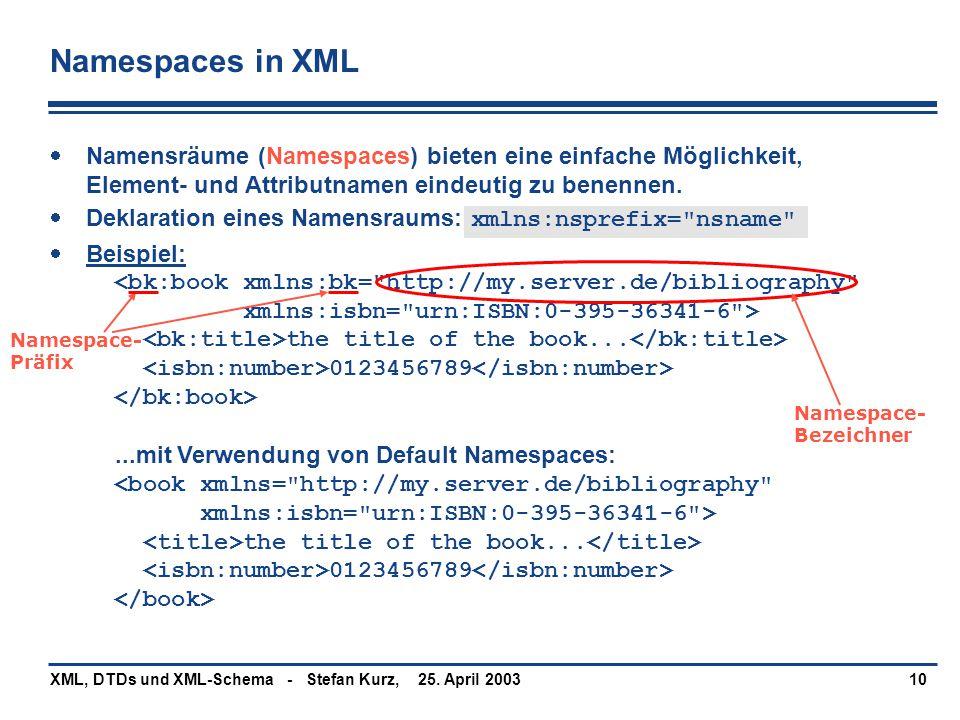 25. April 2003XML, DTDs und XML-Schema - Stefan Kurz,10 Namespaces in XML  Namensräume (Namespaces) bieten eine einfache Möglichkeit, Element- und At