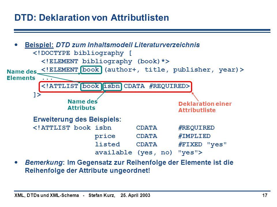 25. April 2003XML, DTDs und XML-Schema - Stefan Kurz,17 DTD: Deklaration von Attributlisten  Beispiel: DTD zum Inhaltsmodell Literaturverzeichnis...