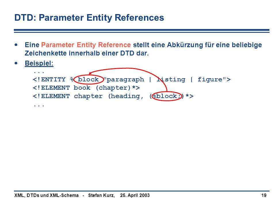 25. April 2003XML, DTDs und XML-Schema - Stefan Kurz,19 DTD: Parameter Entity References  Eine Parameter Entity Reference stellt eine Abkürzung für e