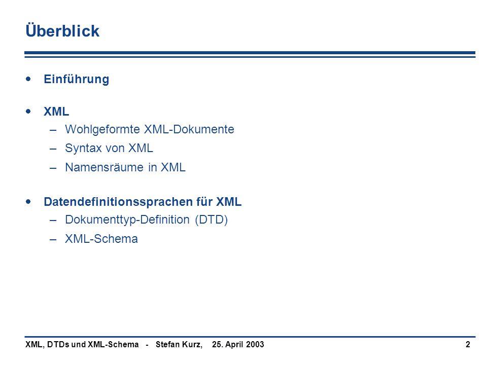 25. April 2003XML, DTDs und XML-Schema - Stefan Kurz,2 Überblick  Einführung  XML –Wohlgeformte XML-Dokumente –Syntax von XML –Namensräume in XML 