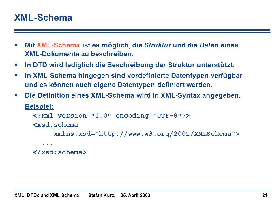 25. April 2003XML, DTDs und XML-Schema - Stefan Kurz,21 XML-Schema  Mit XML-Schema ist es möglich, die Struktur und die Daten eines XML-Dokuments zu