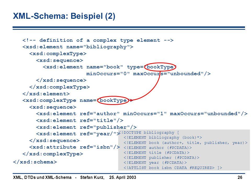 25. April 2003XML, DTDs und XML-Schema - Stefan Kurz,26 ]> XML-Schema: Beispiel (2) 