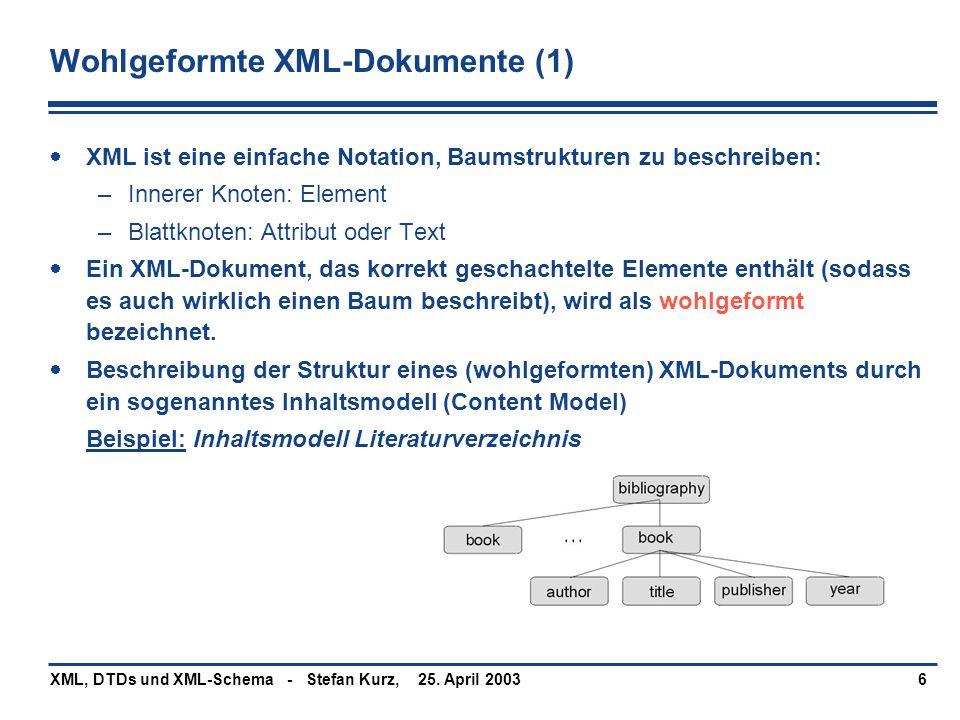 25. April 2003XML, DTDs und XML-Schema - Stefan Kurz,6 Wohlgeformte XML-Dokumente (1)  XML ist eine einfache Notation, Baumstrukturen zu beschreiben: