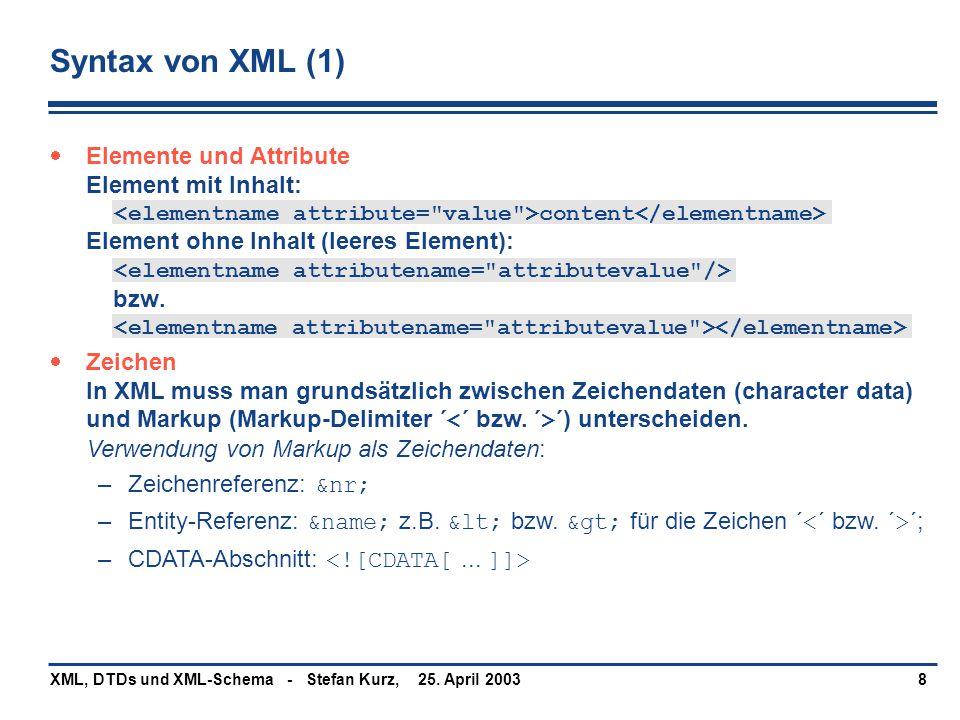 25. April 2003XML, DTDs und XML-Schema - Stefan Kurz,8 Syntax von XML (1)  Elemente und Attribute Element mit Inhalt: content Element ohne Inhalt (le
