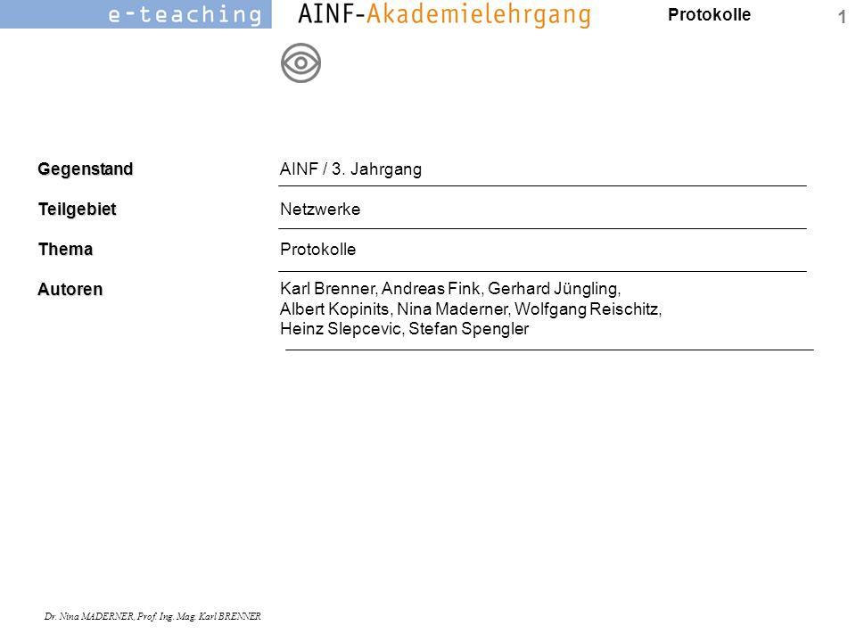 Protokolle Dr. Nina MADERNER, Prof. Ing. Mag. Karl BRENNER 1GegenstandTeilgebietThemaAutoren AINF / 3. Jahrgang Netzwerke Protokolle Karl Brenner, And