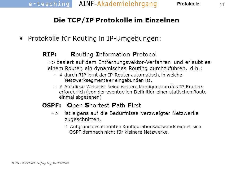 Protokolle Dr. Nina MADERNER, Prof. Ing. Mag. Karl BRENNER 11 Die TCP/IP Protokolle im Einzelnen Protokolle für Routing in IP-Umgebungen: RIP: R outin