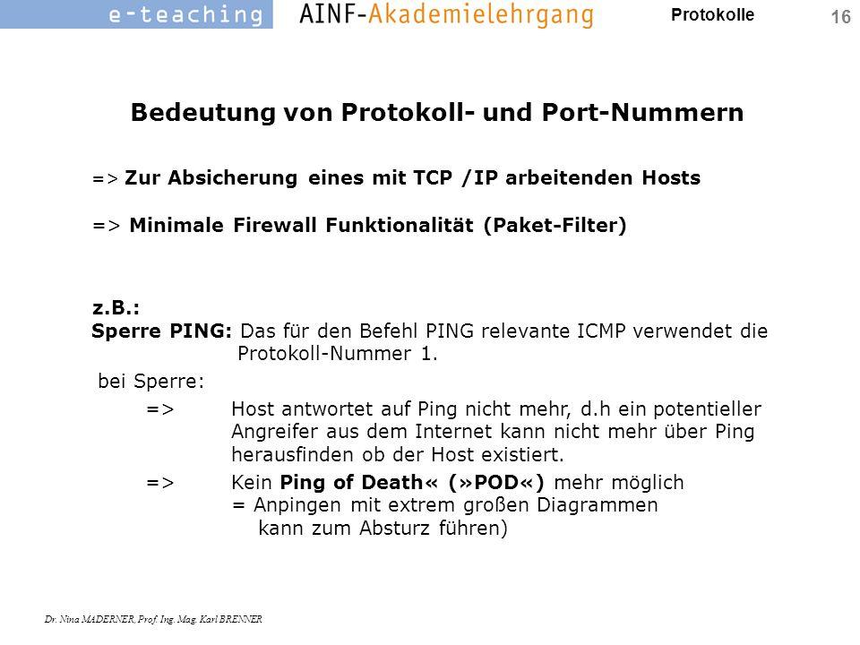 Protokolle Dr. Nina MADERNER, Prof. Ing. Mag. Karl BRENNER 16 Bedeutung von Protokoll- und Port-Nummern => Zur Absicherung eines mit TCP /IP arbeitend