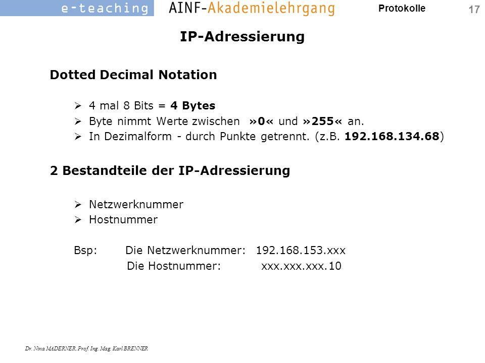 Protokolle Dr. Nina MADERNER, Prof. Ing. Mag. Karl BRENNER 17 IP-Adressierung Dotted Decimal Notation  4 mal 8 Bits = 4 Bytes  Byte nimmt Werte zwis