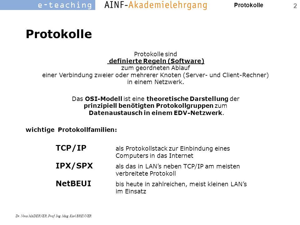 Protokolle Dr. Nina MADERNER, Prof. Ing. Mag. Karl BRENNER 2 Protokolle Protokolle sind definierte Regeln (Software) zum geordneten Ablauf einer Verbi