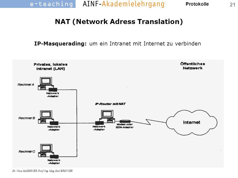 Protokolle Dr. Nina MADERNER, Prof. Ing. Mag. Karl BRENNER 21 NAT (Network Adress Translation) IP-Masquerading: um ein Intranet mit Internet zu verbin