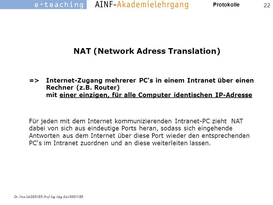 Protokolle Dr. Nina MADERNER, Prof. Ing. Mag. Karl BRENNER 22 NAT (Network Adress Translation) =>Internet-Zugang mehrerer PC's in einem Intranet über
