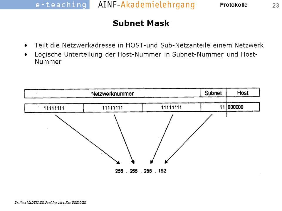 Protokolle Dr. Nina MADERNER, Prof. Ing. Mag. Karl BRENNER 23 Subnet Mask Teilt die Netzwerkadresse in HOST-und Sub-Netzanteile einem Netzwerk Logisch