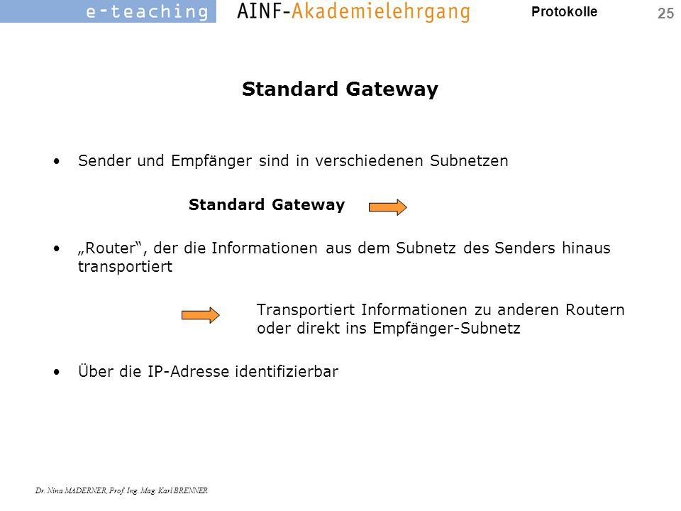 """Protokolle Dr. Nina MADERNER, Prof. Ing. Mag. Karl BRENNER 25 Standard Gateway Sender und Empfänger sind in verschiedenen Subnetzen Standard Gateway """""""
