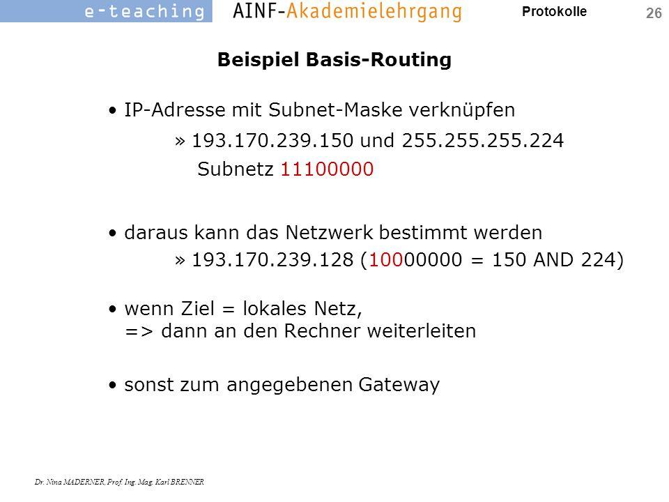 Protokolle Dr. Nina MADERNER, Prof. Ing. Mag. Karl BRENNER 26 Beispiel Basis-Routing IP-Adresse mit Subnet-Maske verknüpfen »193.170.239.150 und 255.2