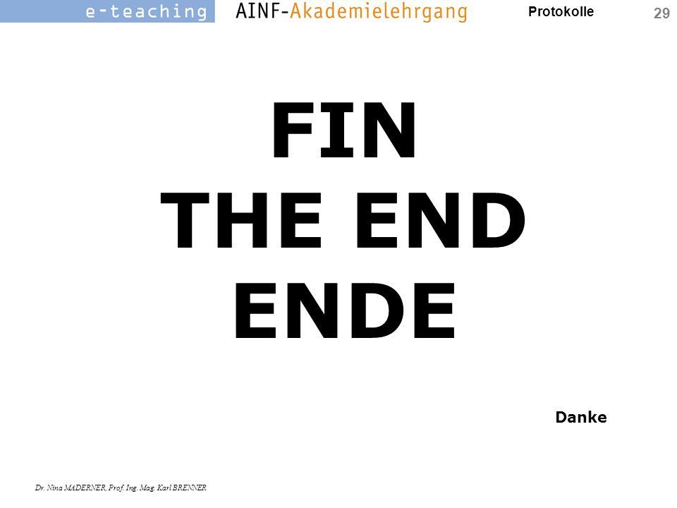 Protokolle Dr. Nina MADERNER, Prof. Ing. Mag. Karl BRENNER 29 FIN THE END ENDE Danke