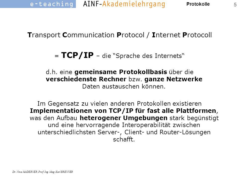 """Protokolle Dr. Nina MADERNER, Prof. Ing. Mag. Karl BRENNER 5 Transport Communication Protocol / Internet Protocoll = TCP/IP – die """"Sprache des Interne"""