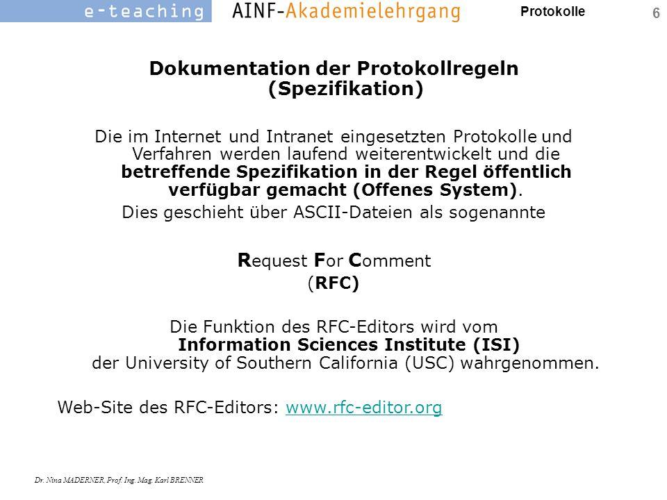 Protokolle Dr. Nina MADERNER, Prof. Ing. Mag. Karl BRENNER 6 Dokumentation der Protokollregeln (Spezifikation) Die im Internet und Intranet eingesetzt