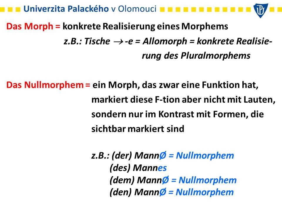 Das Morph = konkrete Realisierung eines Morphems z.B.: Tische  -e = Allomorph = konkrete Realisie- rung des Pluralmorphems Das Nullmorphem = ein Morp