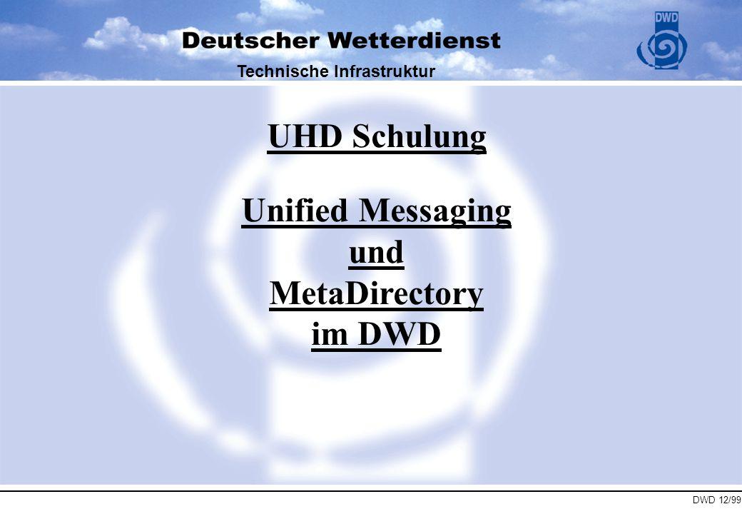 DWD 12/99 Technische Infrastruktur Themenüberblick : 1.