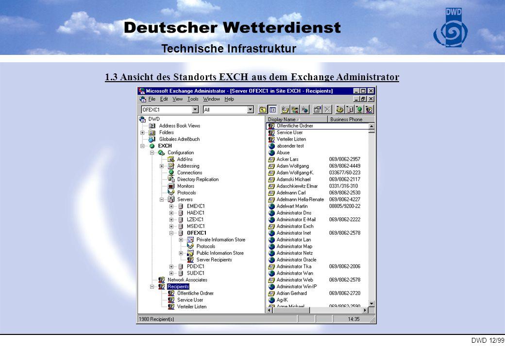 DWD 12/99 Technische Infrastruktur 1.4 Interne Mail Struktur im DWD