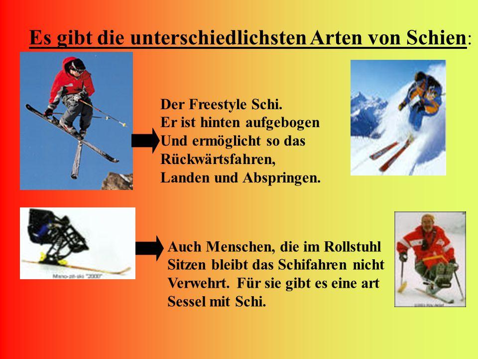 Es gibt die unterschiedlichsten Arten von Schien : Der Freestyle Schi.