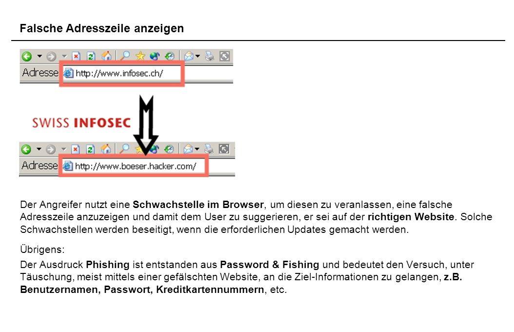 Der Angreifer nutzt eine Schwachstelle im Browser, um diesen zu veranlassen, eine falsche Adresszeile anzuzeigen und damit dem User zu suggerieren, er sei auf der richtigen Website.