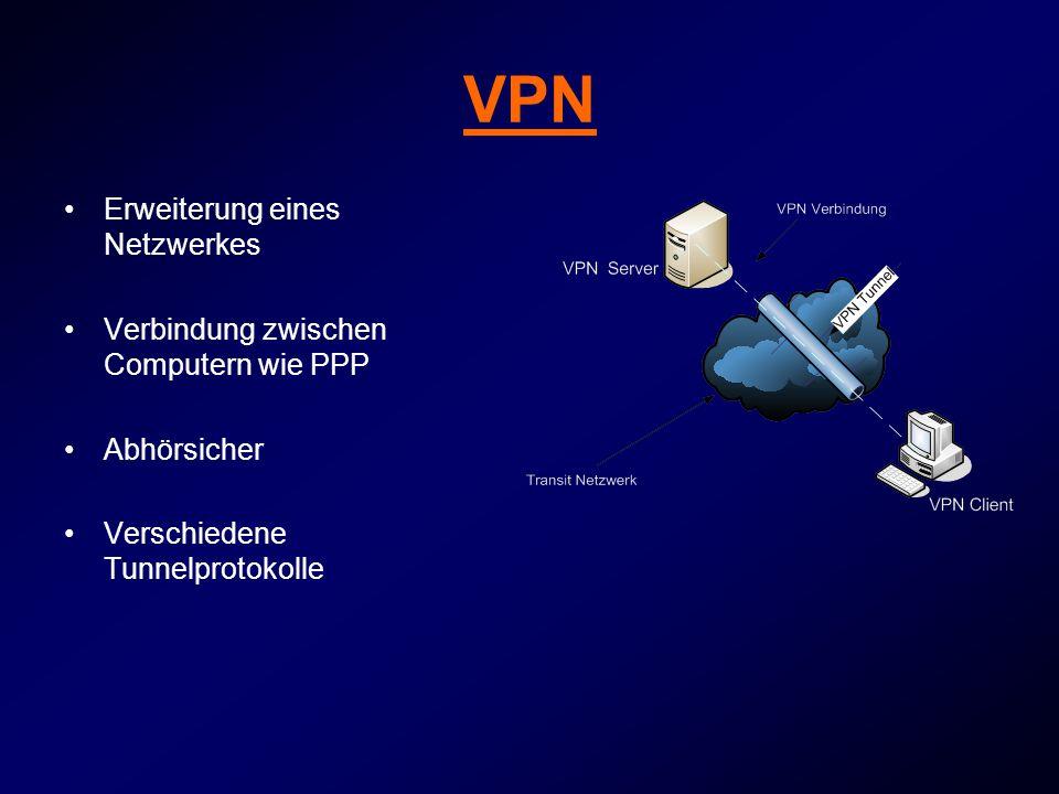 VPN Erweiterung eines Netzwerkes Verbindung zwischen Computern wie PPP Abhörsicher Verschiedene Tunnelprotokolle
