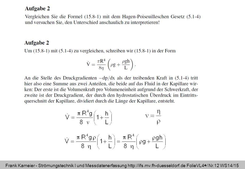 Frank Kameier - Strömungstechnik I und Messdatenerfassung http://ifs.mv.fh-duesseldorf.de FolieVL4+/ Nr.12 WS14/15