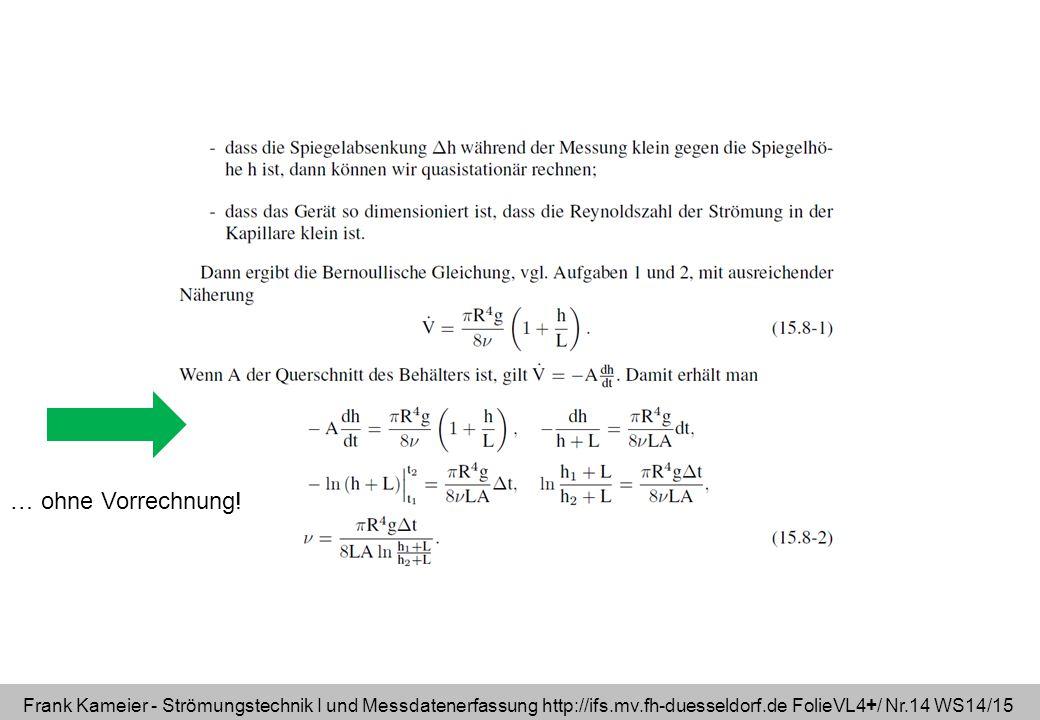 Frank Kameier - Strömungstechnik I und Messdatenerfassung http://ifs.mv.fh-duesseldorf.de FolieVL4+/ Nr.14 WS14/15 … ohne Vorrechnung!