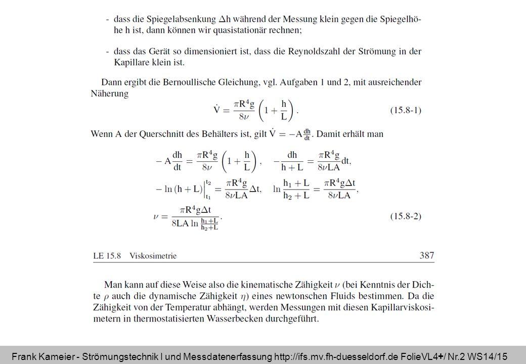 Frank Kameier - Strömungstechnik I und Messdatenerfassung http://ifs.mv.fh-duesseldorf.de FolieVL4+/ Nr.2 WS14/15