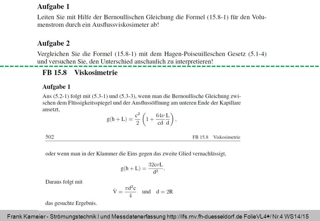 Frank Kameier - Strömungstechnik I und Messdatenerfassung http://ifs.mv.fh-duesseldorf.de FolieVL4+/ Nr.4 WS14/15