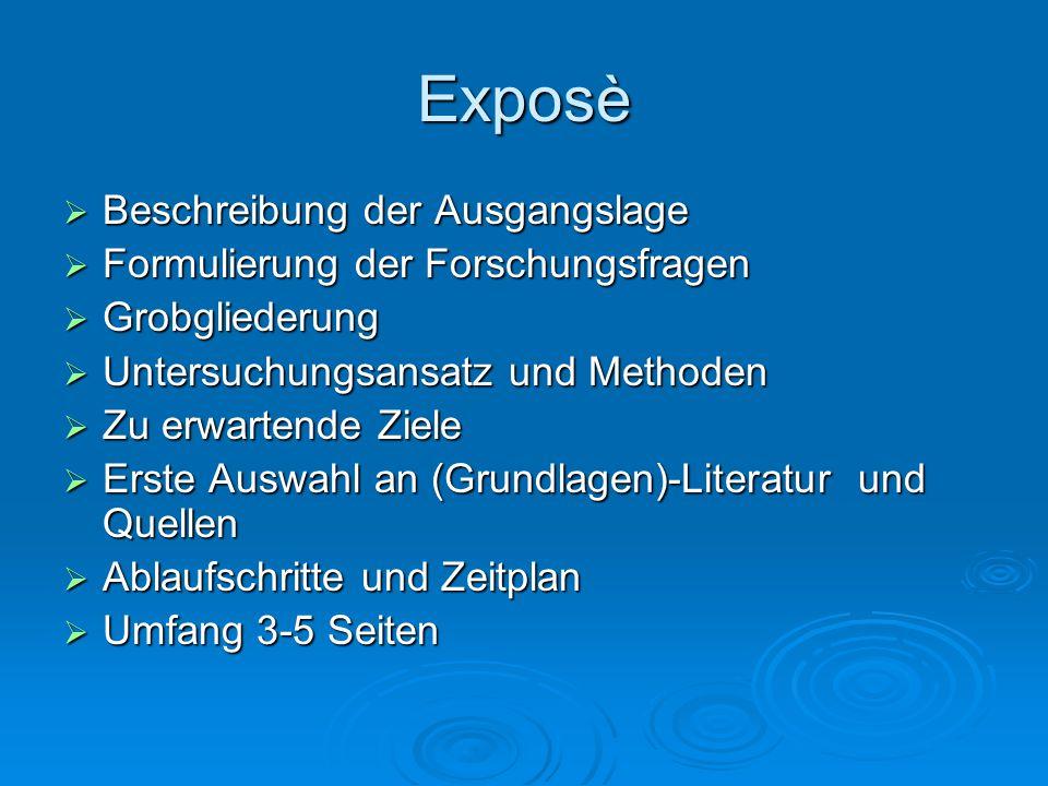 Exposè  Beschreibung der Ausgangslage  Formulierung der Forschungsfragen  Grobgliederung  Untersuchungsansatz und Methoden  Zu erwartende Ziele 