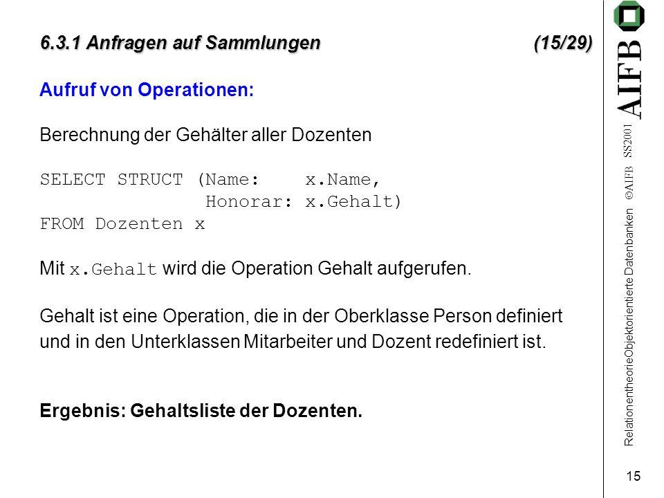 RelationentheorieObjektorientierte Datenbanken  AIFB SS2001 15 6.3.1 Anfragen auf Sammlungen (15/29) Aufruf von Operationen: Berechnung der Gehälter