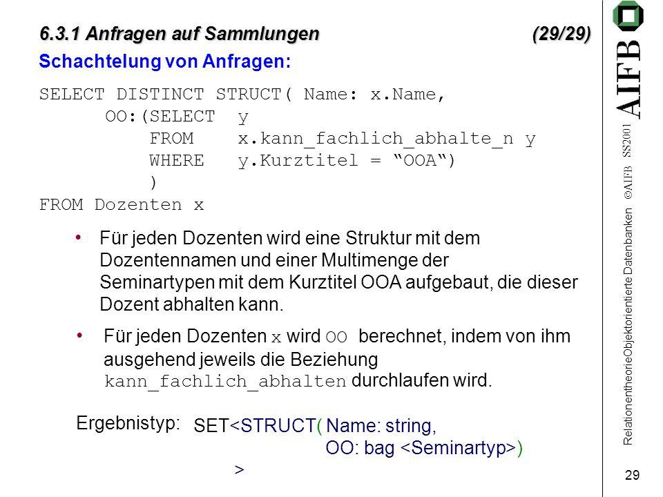 RelationentheorieObjektorientierte Datenbanken  AIFB SS2001 29 6.3.1 Anfragen auf Sammlungen (29/29) Schachtelung von Anfragen: SELECT DISTINCT STRUC