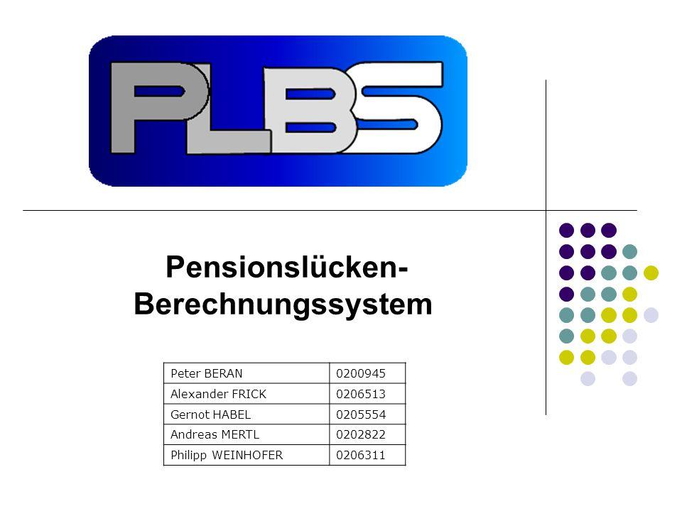 Peter BERAN0200945 Alexander FRICK0206513 Gernot HABEL0205554 Andreas MERTL0202822 Philipp WEINHOFER0206311 Pensionslücken- Berechnungssystem