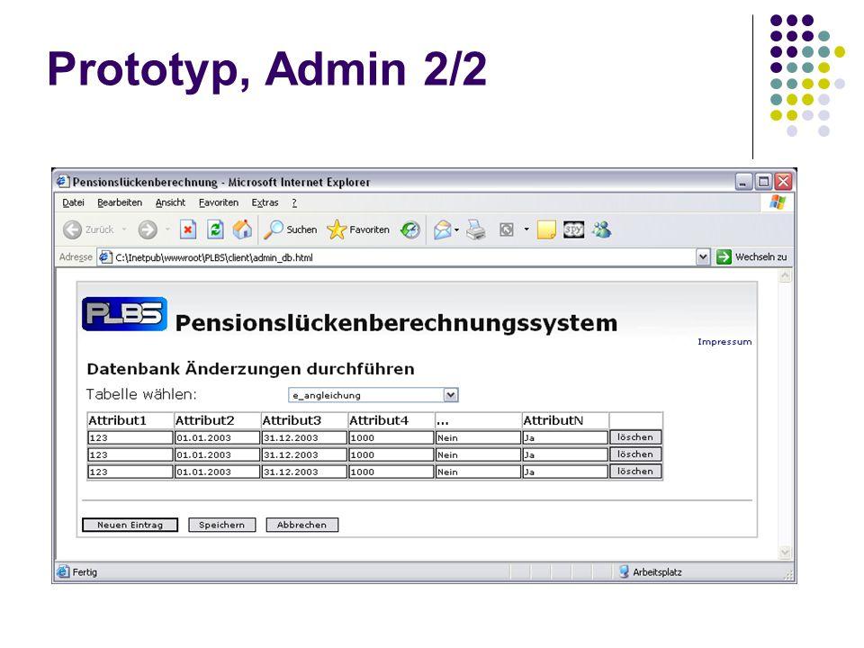 Prototyp, Admin 2/2