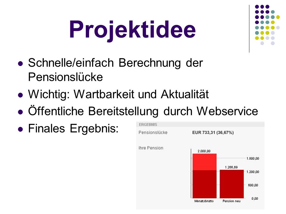 Projektidee Schnelle/einfach Berechnung der Pensionslücke Wichtig: Wartbarkeit und Aktualität Öffentliche Bereitstellung durch Webservice Finales Erge