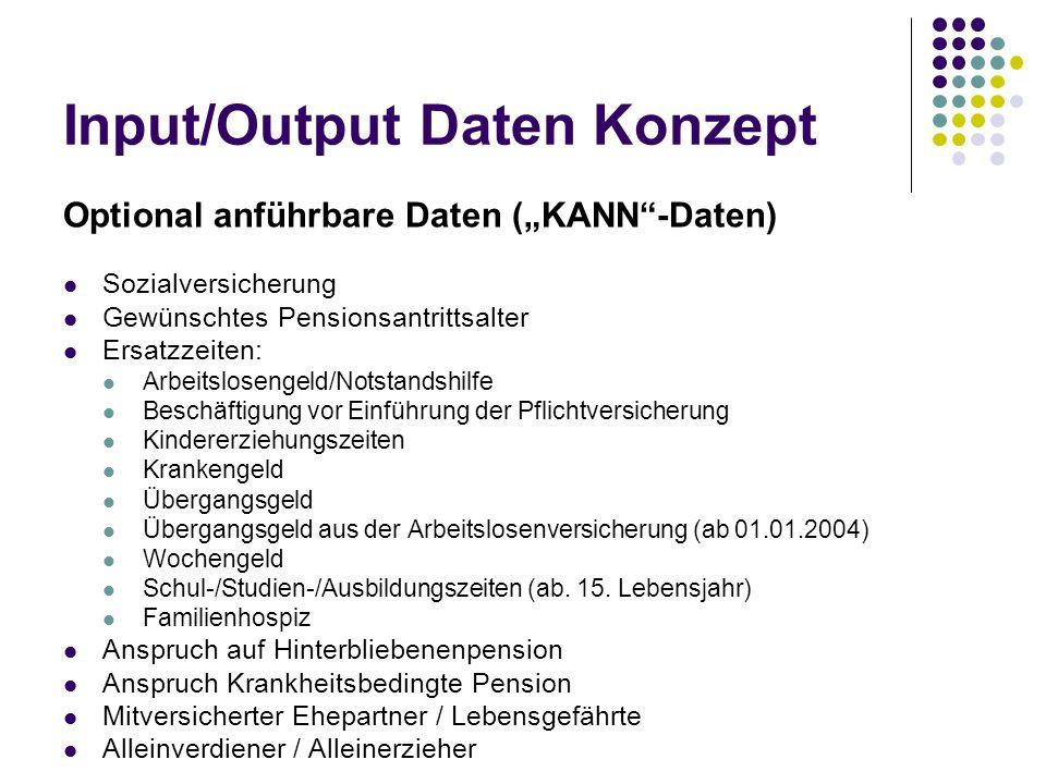 "Input/Output Daten Konzept Optional anführbare Daten (""KANN""-Daten) Sozialversicherung Gewünschtes Pensionsantrittsalter Ersatzzeiten: Arbeitslosengel"