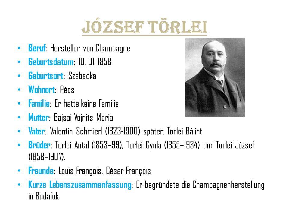 József Törlei Beruf : Hersteller von Champagne Geburtsdatum : 10. 01. 1858 Geburtsort : Szabadka Wohnort : Pécs Familie : Er hatte keine Familie Mutte