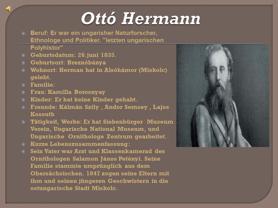  Beruf: Er war ein ungarisher Naturforscher, Ethnologe und Politiker.
