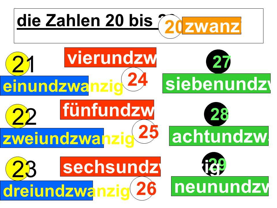 die Zahlen 20 bis 29 29 27 24 23 28 25 26 21 22 20 zwanzig einundzwanzig zweiundzwanzig dreiundzwanzig vierundzwanzig zweiundzwanzig fünfundzwanzig se