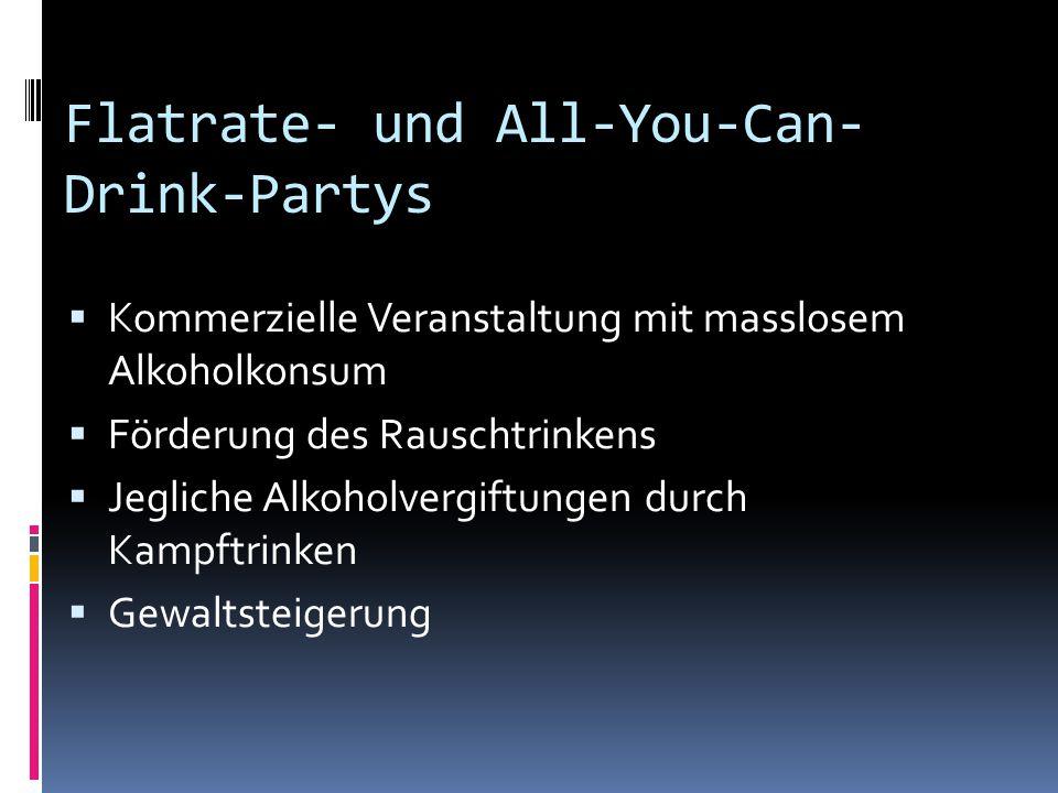 Flatrate- und All-You-Can- Drink-Partys  Kommerzielle Veranstaltung mit masslosem Alkoholkonsum  Förderung des Rauschtrinkens  Jegliche Alkoholverg