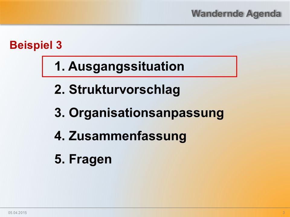 3 Beispiel 3 1. Ausgangssituation 2. Strukturvorschlag 3. Organisationsanpassung 4. Zusammenfassung 5. Fragen 05.04.2015 Wandernde Agenda