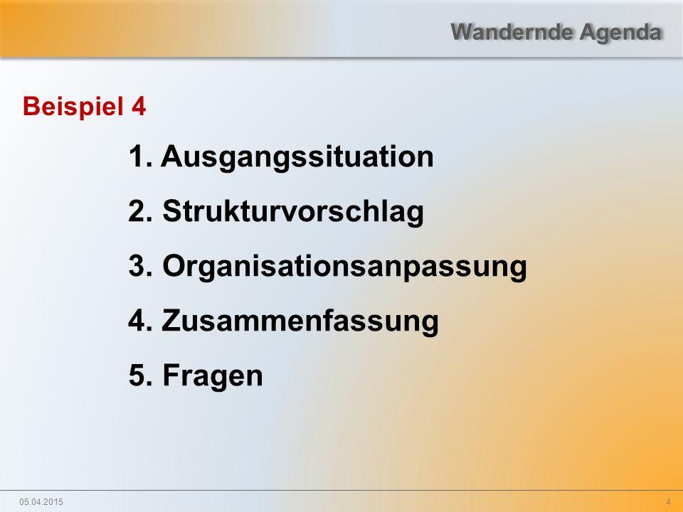 4 Beispiel 4 1. Ausgangssituation 2. Strukturvorschlag 3. Organisationsanpassung 4. Zusammenfassung 5. Fragen 05.04.2015 Wandernde Agenda