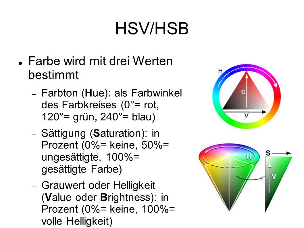 HSV/HSB Farbe wird mit drei Werten bestimmt  Farbton (Hue): als Farbwinkel des Farbkreises (0°= rot, 120°= grün, 240°= blau)  Sättigung (Saturation): in Prozent (0%= keine, 50%= ungesättigte, 100%= gesättigte Farbe)  Grauwert oder Helligkeit (Value oder Brightness): in Prozent (0%= keine, 100%= volle Helligkeit)