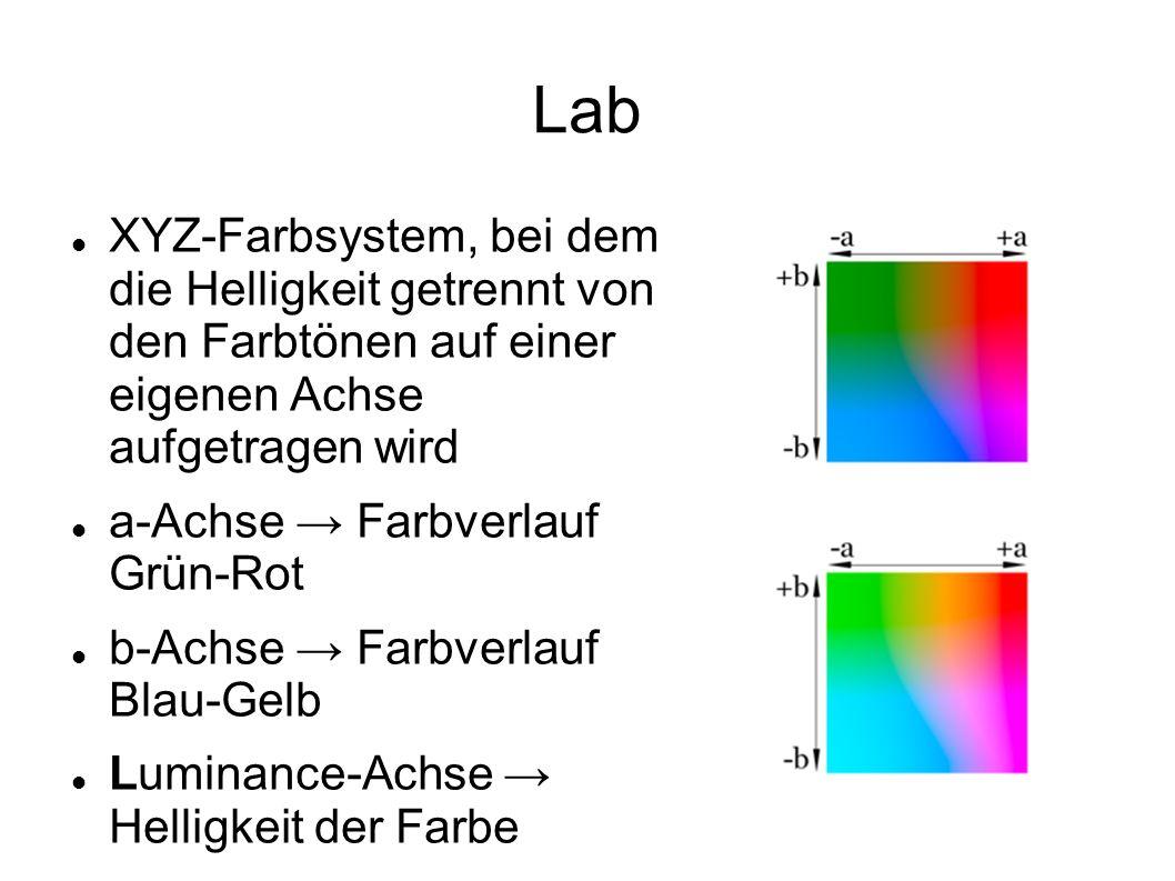 Lab XYZ-Farbsystem, bei dem die Helligkeit getrennt von den Farbtönen auf einer eigenen Achse aufgetragen wird a-Achse → Farbverlauf Grün-Rot b-Achse → Farbverlauf Blau-Gelb Luminance-Achse → Helligkeit der Farbe